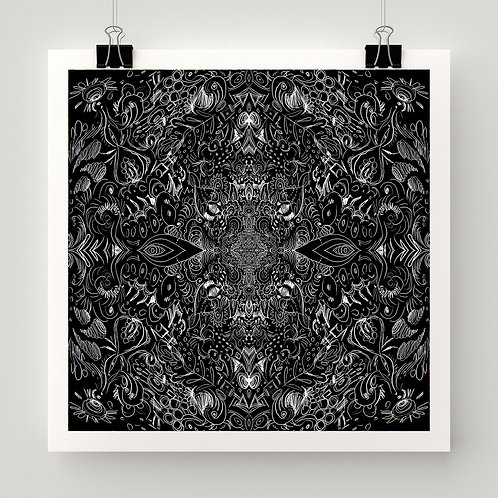 """Shadowplane Lights"" fine art print of original outsider art by Justin Potts; black pattern mandala art"