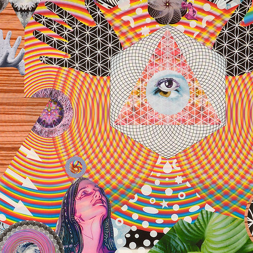 """New Again"" original mixed media psychedelic, transcendental art by Justin Potts; rainbow, sacred geometry, hand, eye"