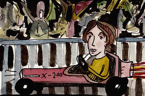 Lady Racer X-200 Original Watercololor Sketch