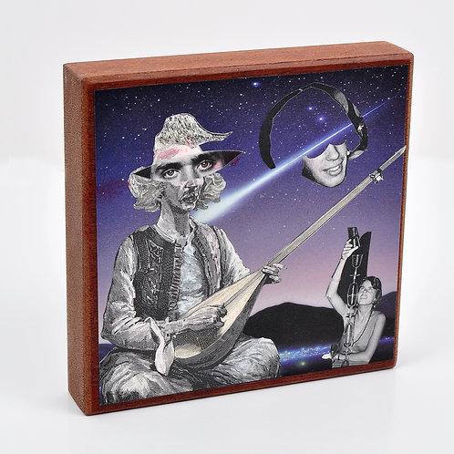 Rhythmic Balance Original Collage on Mahogany Wood Block