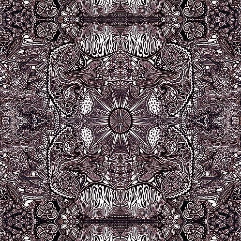 """Sunmaker Complex"" digital art art download of original black and white ink on paper visionary art by Justin Potts"