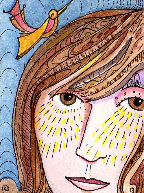 Girl with Bird Original Watercololor Sketch