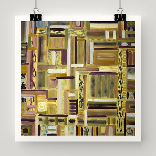 """""""Through the Garden Gates"""" fine art print, abstract pattern yellow and earth tone grid"""