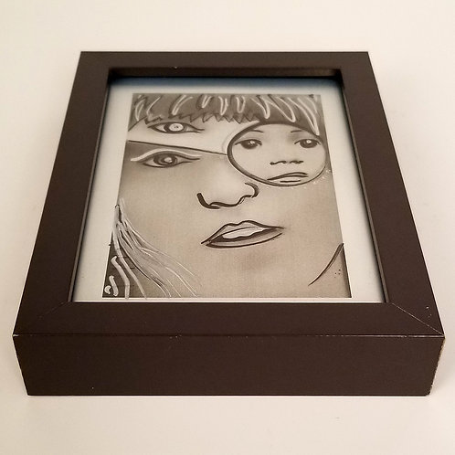 """Layers of Tara"" original framed art by Justin Potts; Black ink on a metallic print of original art; woman face"