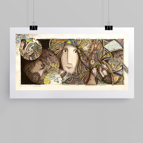 """""""Here We Go Again"""" fine art print of original ink and watercolor painting by self-taught artist Justin Potts"""