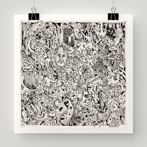 """""""Closely Examined Emptiness"""" fine art print of original ink drawing by Justin Potts; black and white art, many details"""