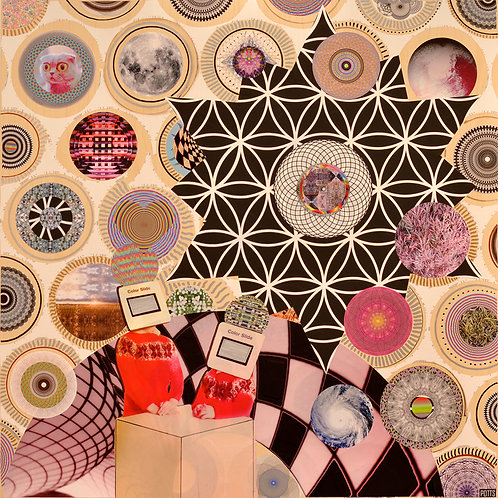 """Glyph Pickers"" original mixed media art on wood by Justin Potts; flower of life, geometric, circles"