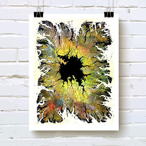 """Hole"" fine art print of original ink and watercolor painting by Portland artist Justin Potts; abstract art"