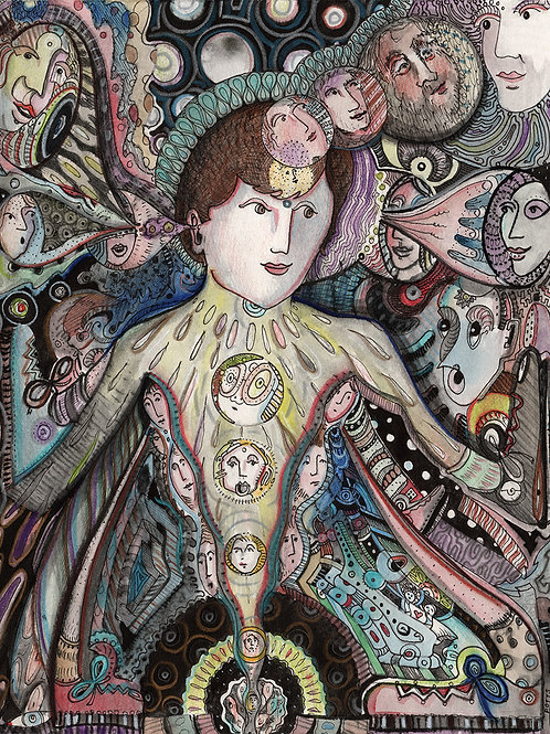 """""""Beatific Projection"""" fine art print of original watercolor painting by Justin Potts; woman, intuitive art"""