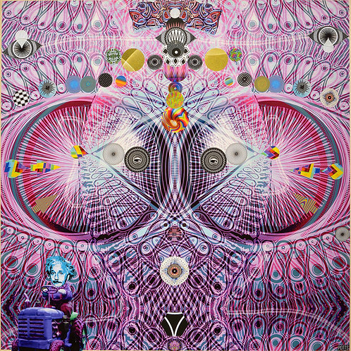 """""""Listen for Your Ears"""" original mixed media art on wood by Justin Potts; geometric, visionary art"""