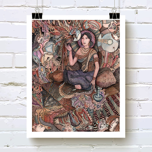 """Sheherazade"" fine art print of original watercolor painting by Justin Potts; divine feminine art"