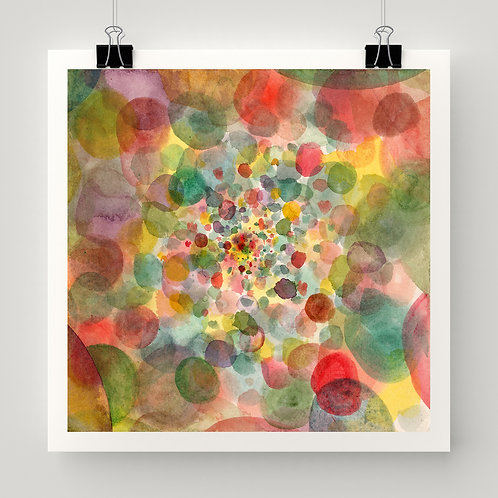 """""""Painted Points on a Plane"""" fine art print of original watercolor painting by intuitive artist Justin Potts; circle pattern"""