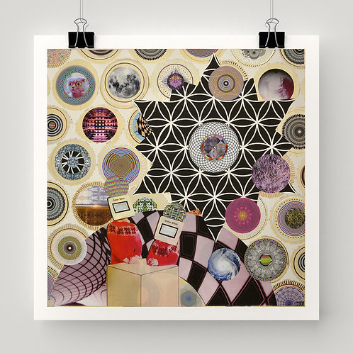 """Glyph Pickers"" fine art print of original mixed media art featuring circles, patterns, sacred geometry by Justin Potts"