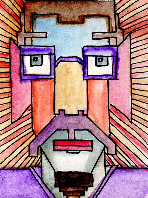 Mr Pixels Small Original Watercololor Sketch