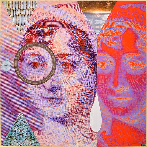 Original visionary Jane Austen art on wood panel by Justin Potts; psychedelic art, collage