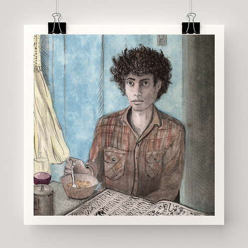 """Howard Eating Soup"" fine art print of original watercolor painting by Justin Potts; Portland, Oregon cafe art"