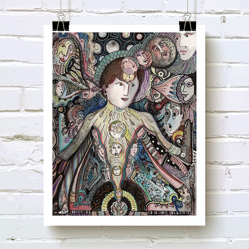 """Beatific Vision"" fine art print of original ink and watercolor drawing by Justin Potts; sacred feminine art"