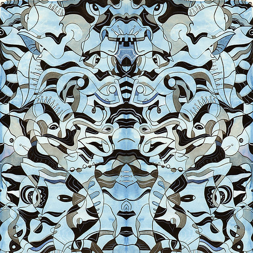 Original, blue watercolor and ink symmetrical, psychedelic art by Justin Potts