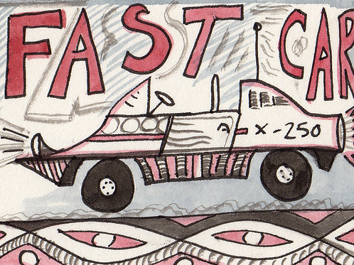 Fast Car Original Watercololor Sketch