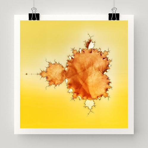 Yellow, orange Mandelbrot set, math, fractal fine art print based on the hand of visionary artist Justin Potts