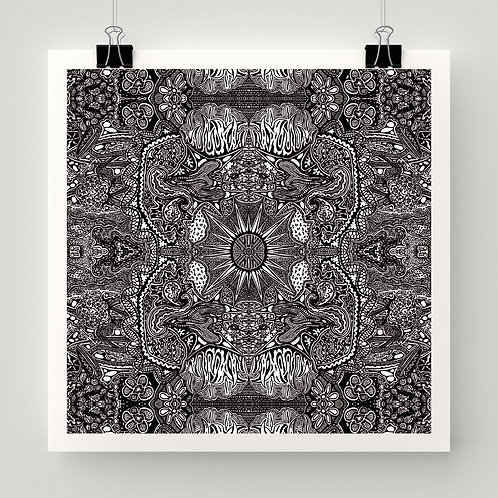 """""""Sun Maker"""" fine art print of original black and white ink drawing by Justin Potts; visionary art"""