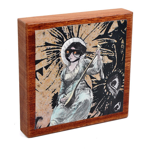 Look and Listen Original Collage on Mahogany Wood Block