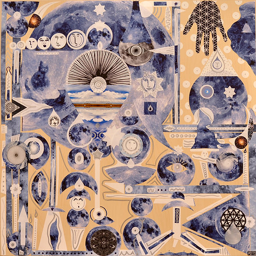 """Blue Moon Makers"" original mixed media art on wood by visionary artist Justin Potts; blue circles, abstract art"