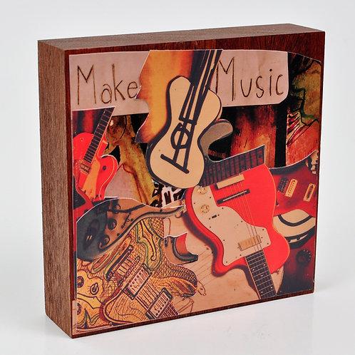 Make Music Original Collage on Mahogany Wood Block