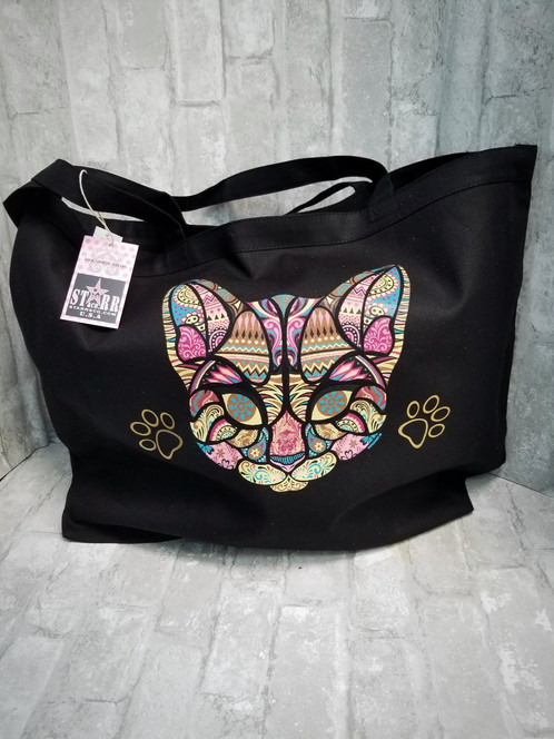 e036f3dd5 Adorable Colorful Cat Mosaic extra large heavy canvas tote bag!! Perfect  size to pack all your stuff! This bag also has cute gold paw print accents,  ...