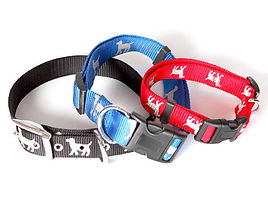 three dog collars with buckle clasp