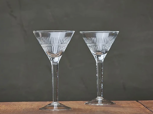 Etched Martini Glasses (Set of 4)