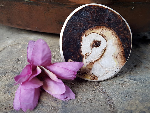 Pyrography Owl Magnet
