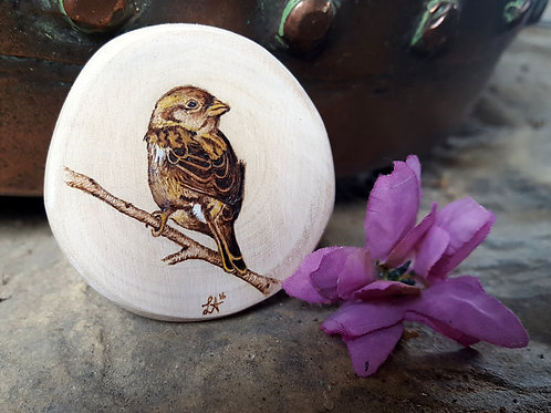 Pyrography Sparrow Magnet