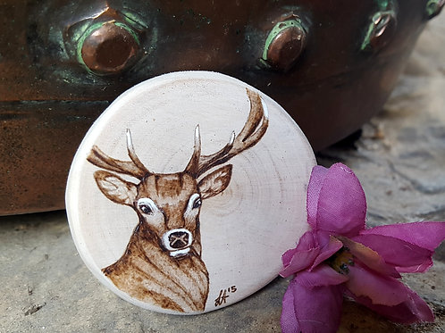 Pyrography Stag Magnet