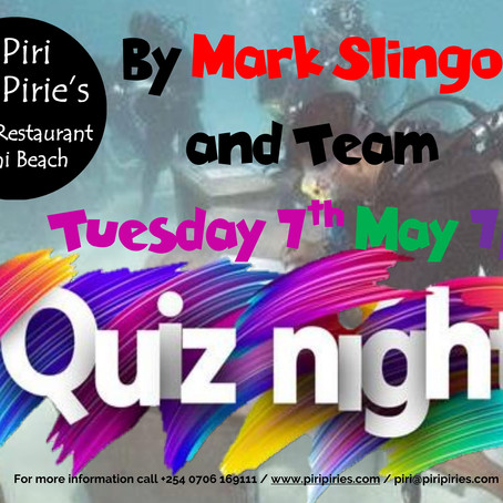 Monthly Quiz Night 7th May By Mark