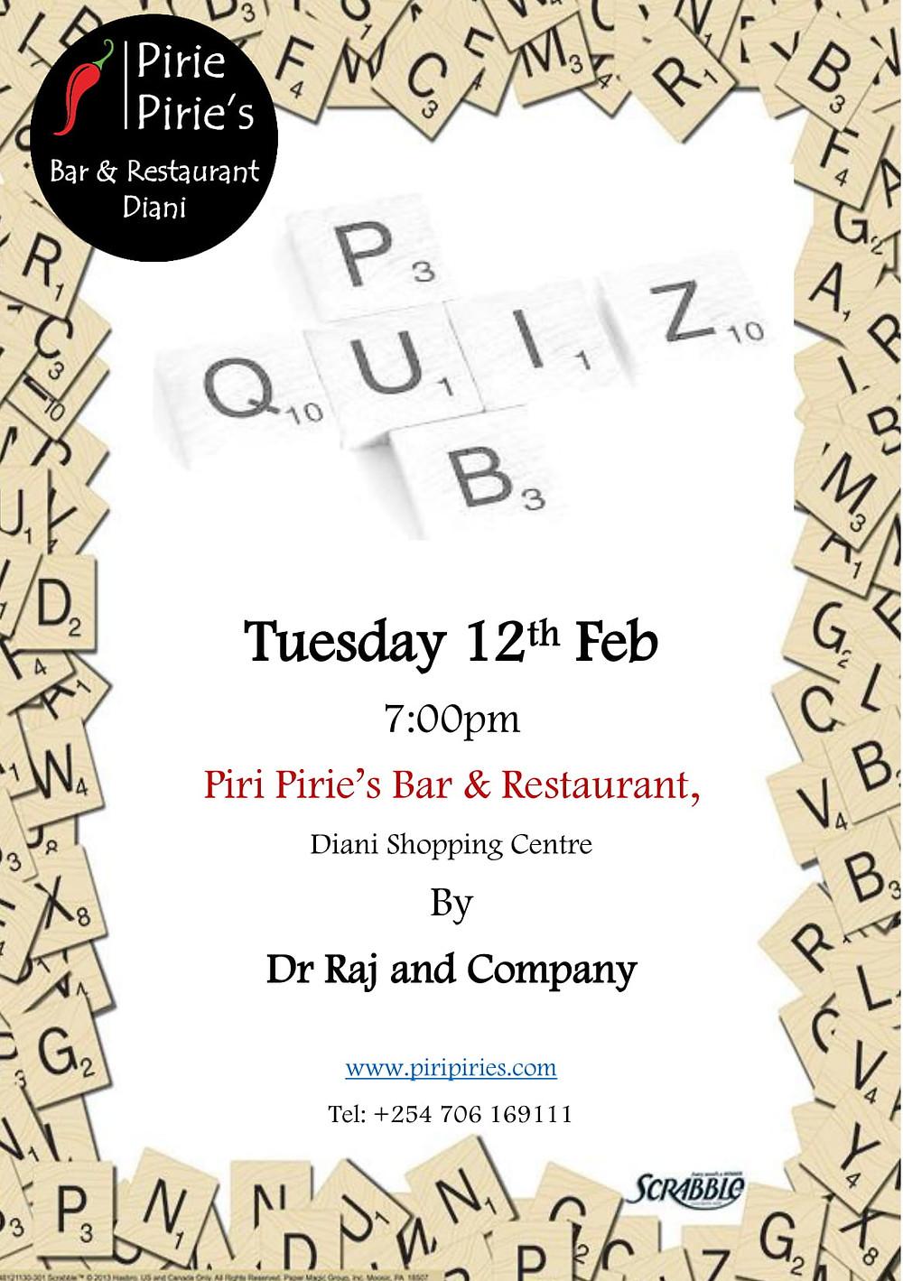 Feb Quiz at Piri Pirie's 12th Feb