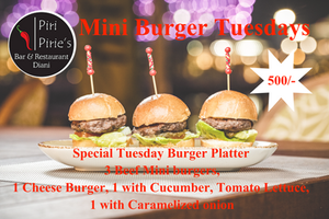 Special Tuesday Burger Platter. 3 Mini Burgers for 500/-.