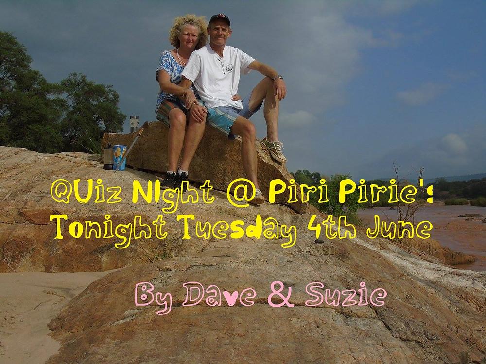 Quiz night at Piri Pirie's Tuesday 4th June 7pm