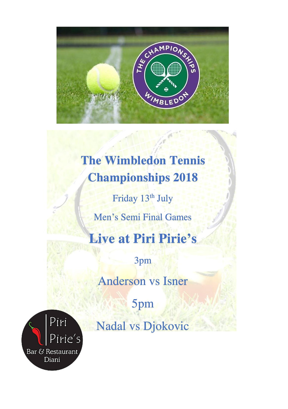 Wimbledom Men's Semi Finals Today from 3pm.