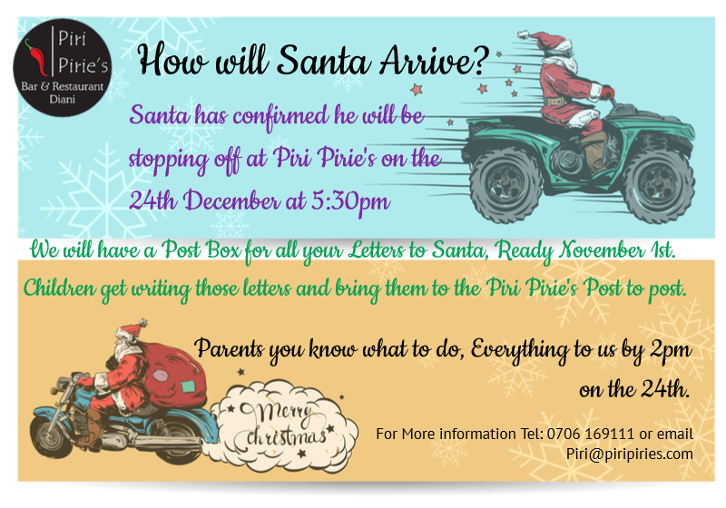 Santa wil be arriving at 5:30pm But how will he arrive?