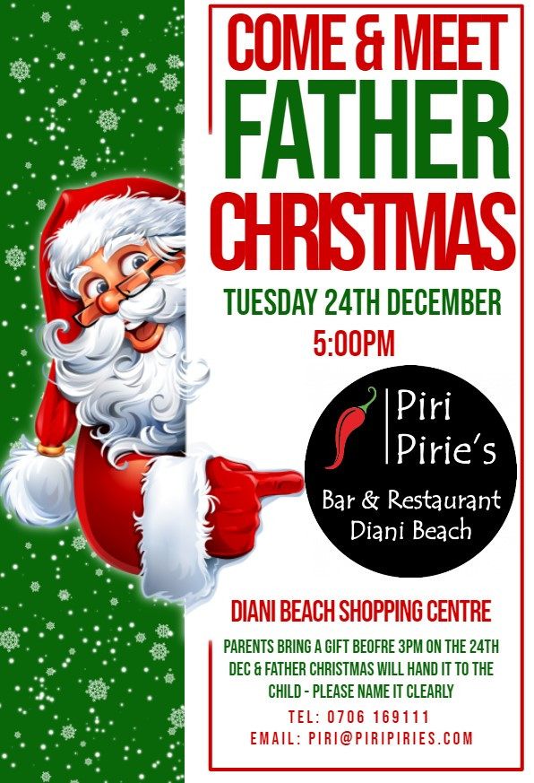 Father Christmas is stopping at Piri Pirie's on24th Dec 5pm
