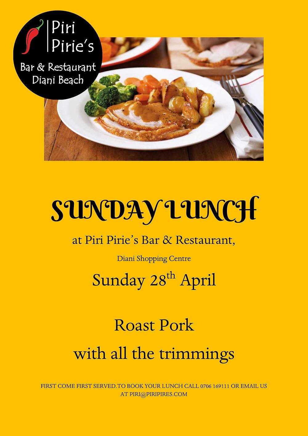 Roast Pork for Sunday Lunch 28th April.@ Piri Piries