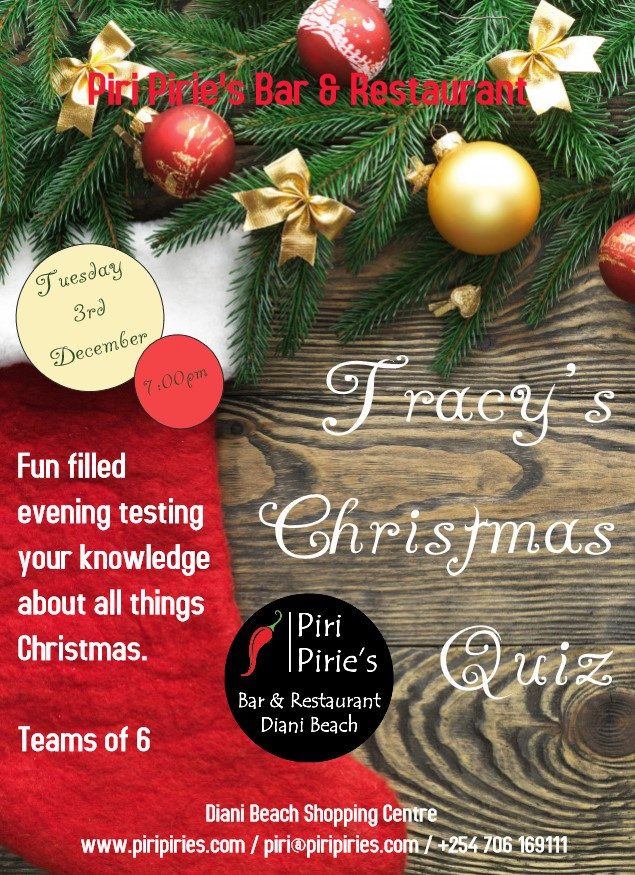 Christmas Quiz by Tracy Hint All About Christmas 7:30pm