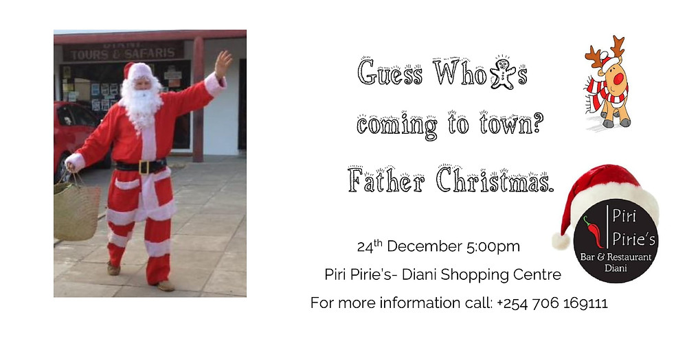 Santa will be at Piri Pirie's 24th December 5pm