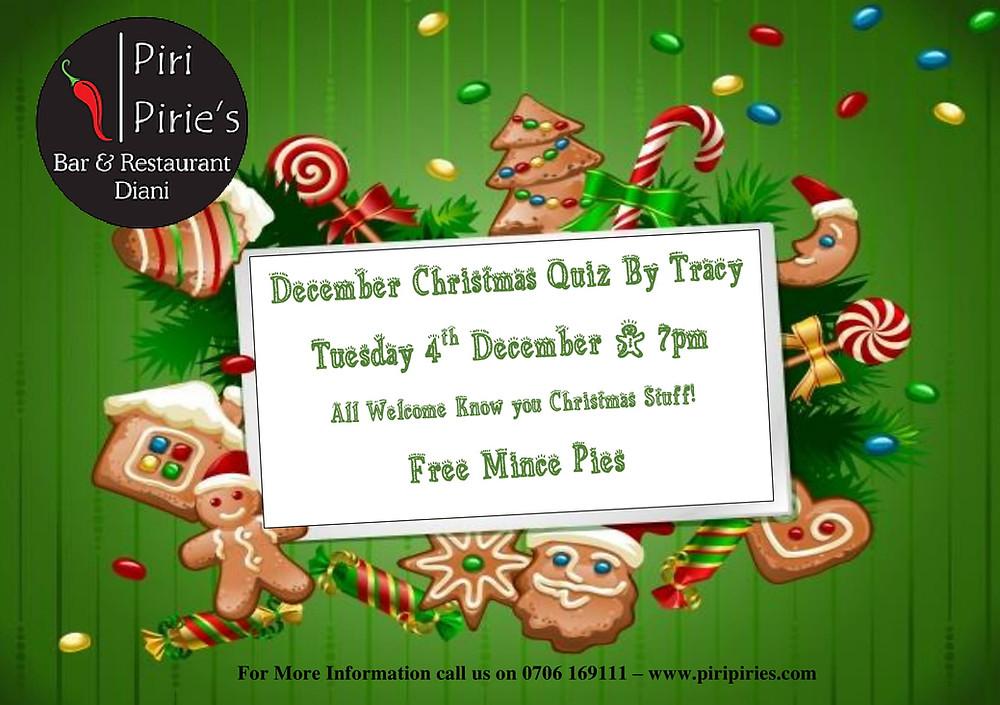 Tracy's  Christmas Quiz 4th Dec 7pm @Piri Piries