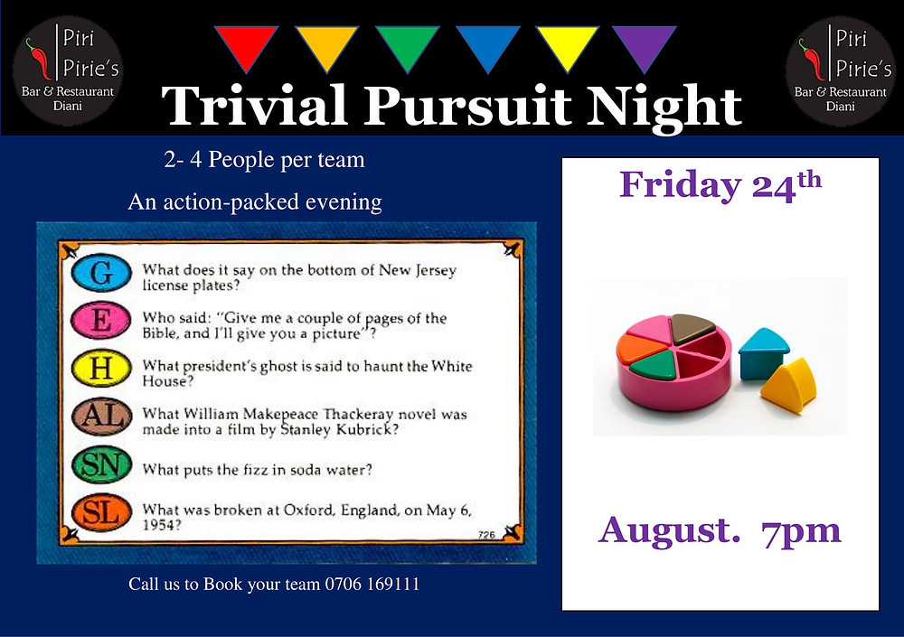 Trivia Pursuit Evening 24th August