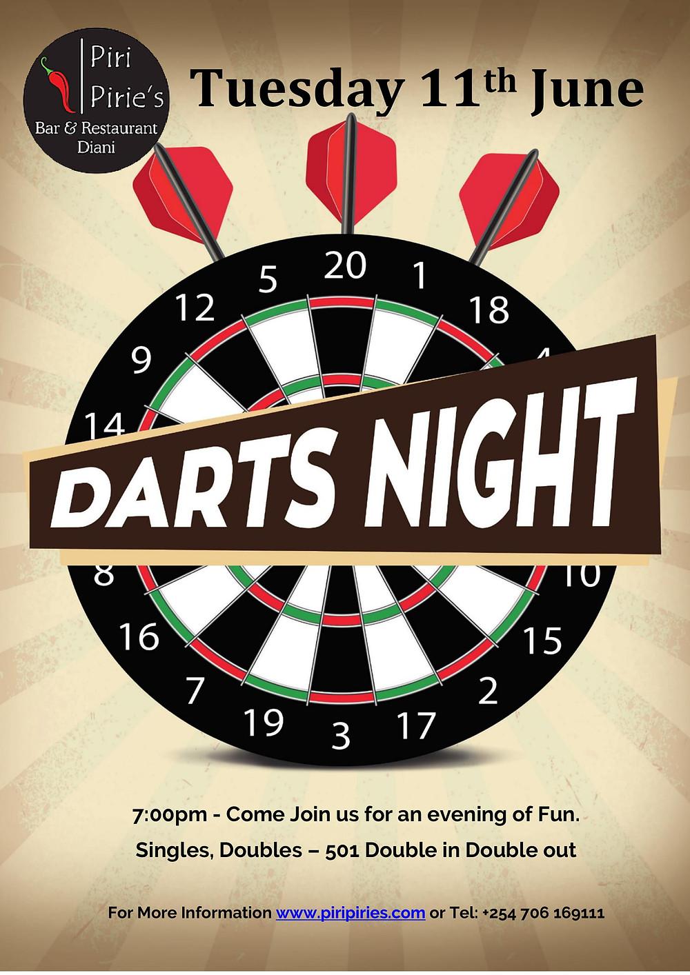 Darts Night Tuesday June 11th at Piri Pirie's