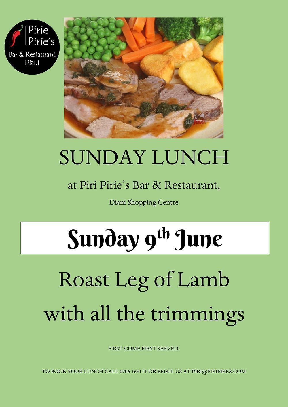 Roast Leg of Lamb Sunday Special 9th June