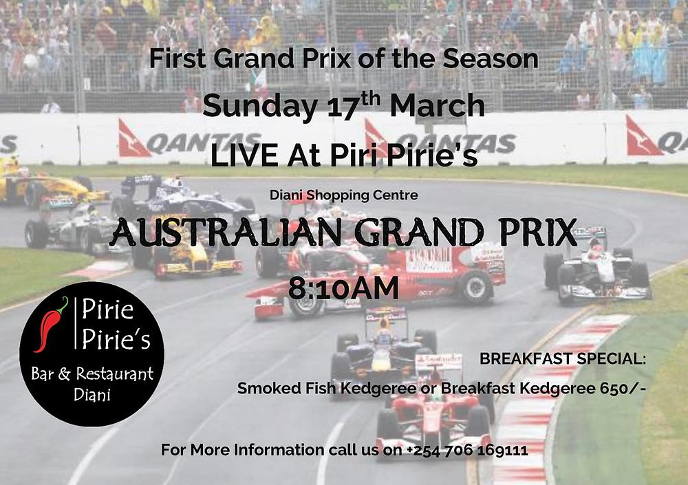 Start of the Grand Prix Live at Piri Pirie's. Australian