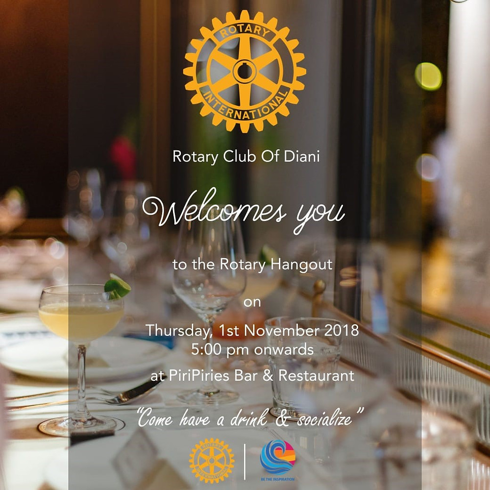 Rotary Club Hang out at Piri Piries Thursday 1st November 5 pm
